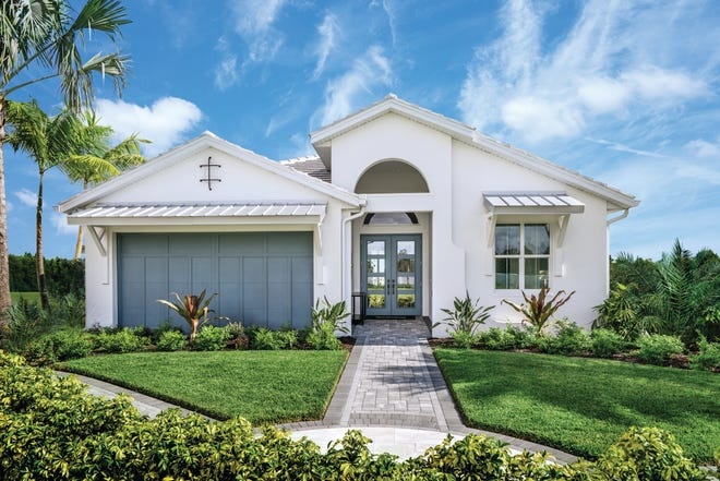 The Serino home design is offered in the Heritage Collection at Azure at Hacienda Lakes.