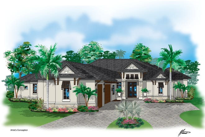 Rendering of Harwick's transitional style new construction in Bonita Bay.