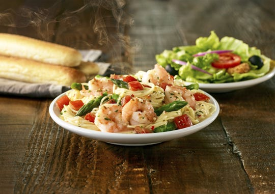 Shrimp Scampi Mini Pasta Bowl is a new dish available on Olive Garden's Lunch Duos menu before 3 p.m. Mondays through Fridays.