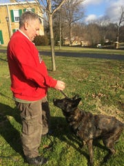 Pataskala Police Officer Randy Morton and partner Demon practice tracking at Bryn Du Mansion in Granville on Jan. 8.