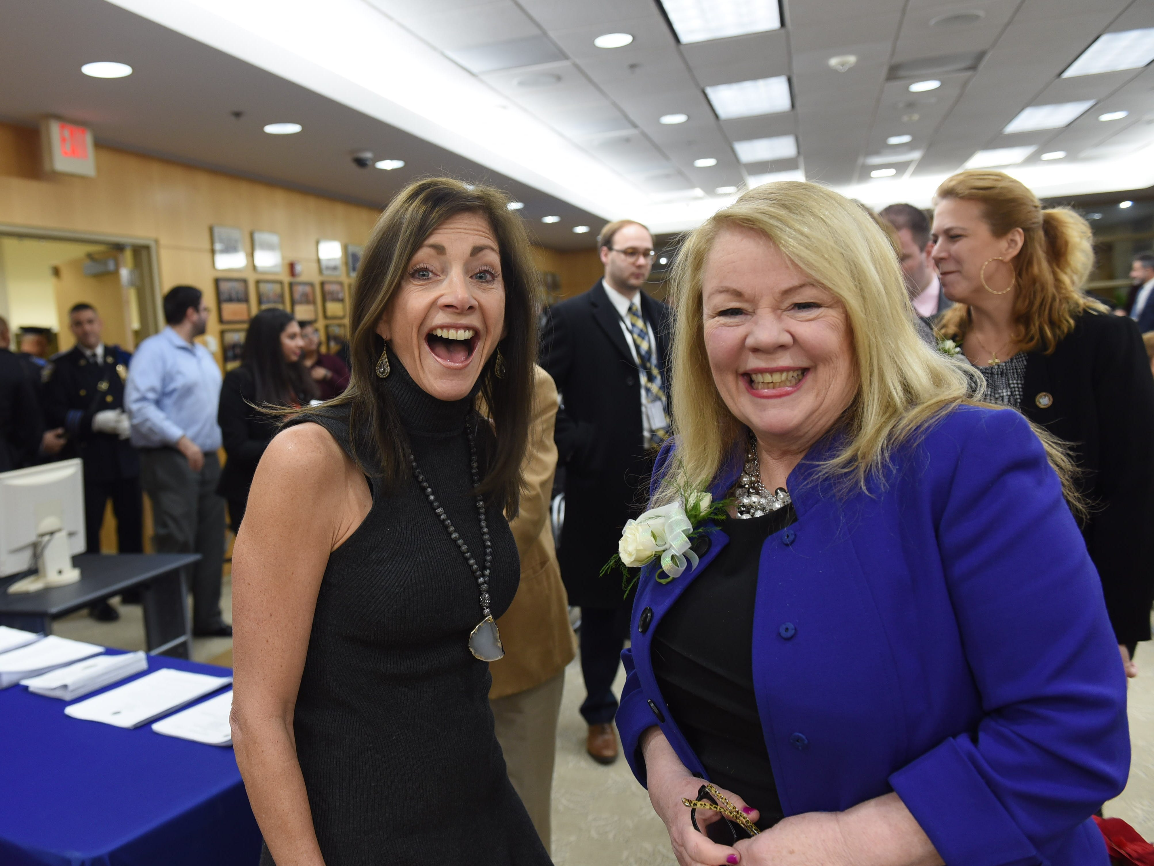Mary Amoroso (R), who is named as Vice-Chairwoman, shares a laugh with New Jersey First Lady Tammy Snyder Murphy prior to the annual Bergen County freeholder board's reorganization meeting at Bergen County Plaza in Hackensack on 01/07/19.
