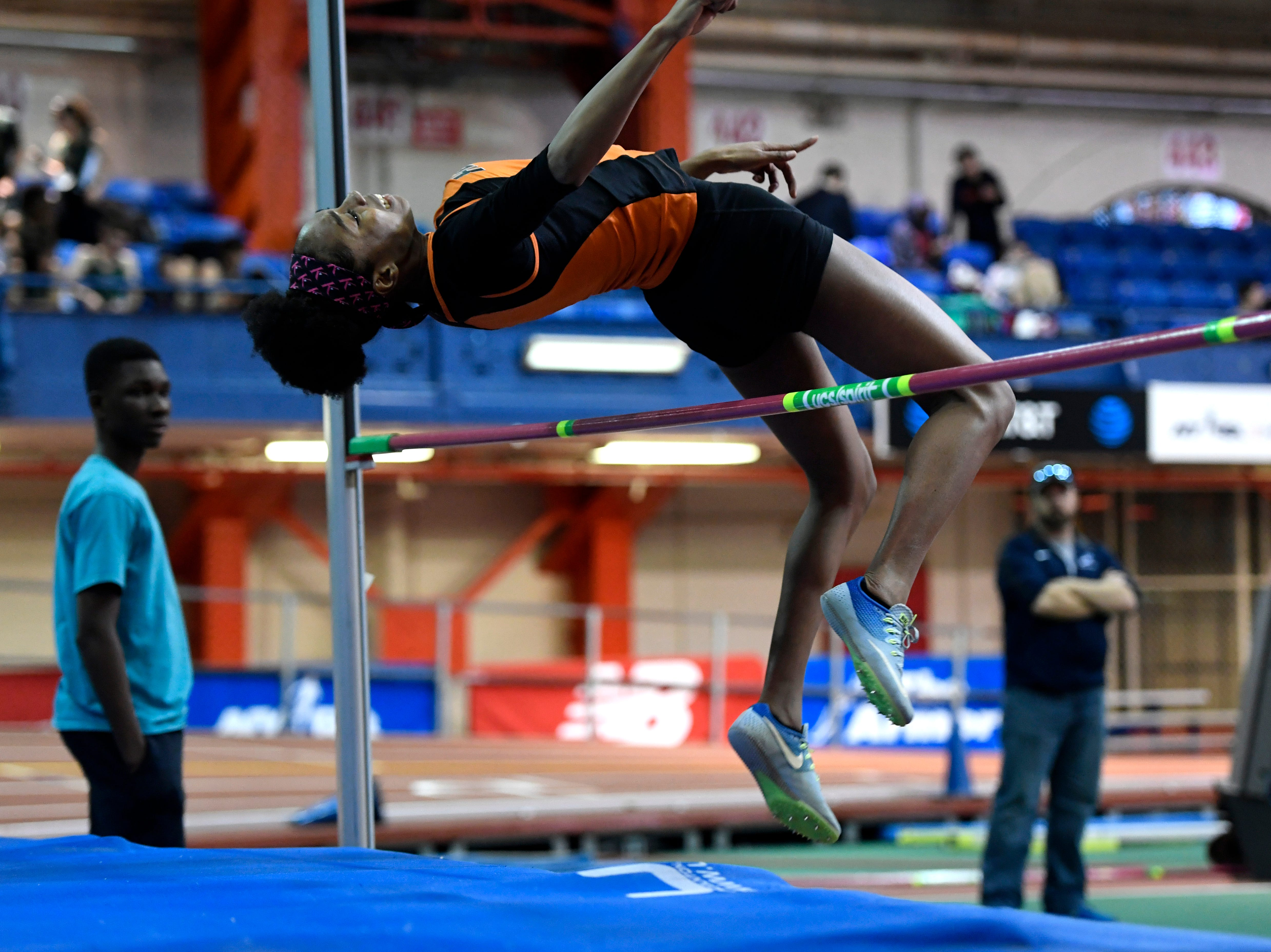 Taila Ferguson of Hasbrouck Heights clears 5-feet-2-inches during the high jump in the NJIC track meet at the Armory Track on Monday, Jan. 7, 2019, in New York.