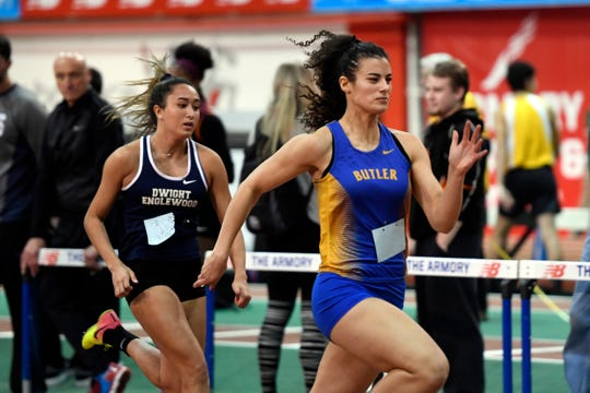 Rebecca Kneppel, right, of Butler, finished first in the 55-meter dash during the NJIC track meet at the Armory Track on Monday, Jan. 7, 2019, in New York.