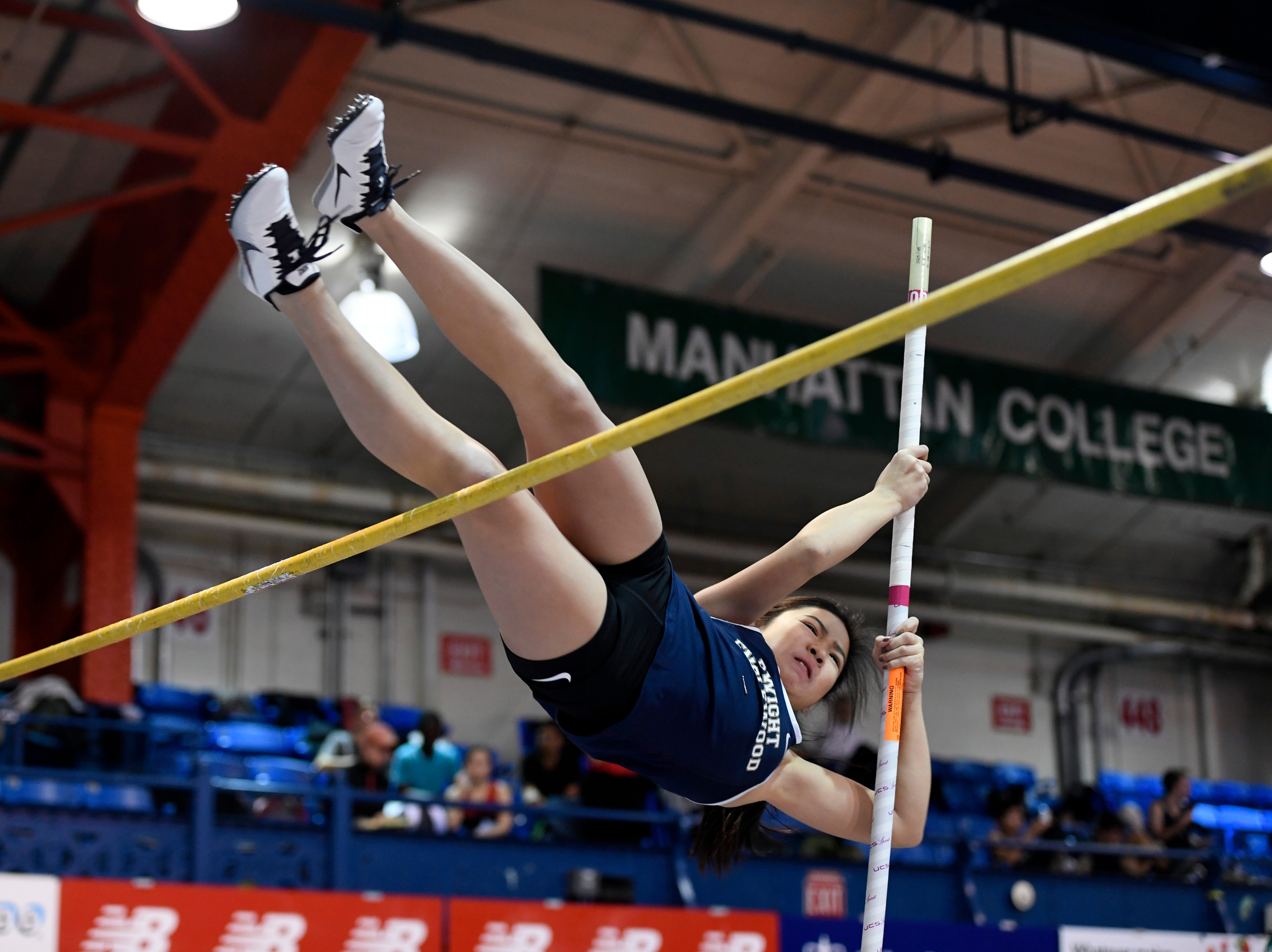 Linsey Lam of Dwight Englewood placed third in pole vault, clearing 7-feet-6-inches, during the NJIC track meet at the Armory Track on Monday, Jan. 7, 2019, in New York.