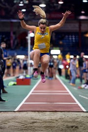 Joelle Montillo of Lyndhurst competes in the long jump during the NJIC track meet at the Armory Track on Monday, Jan. 7, 2019, in New York.
