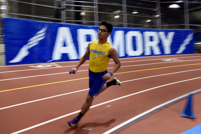 Danny Valencia of Lyndhurst runs in the 1600-meter relay during the NJIC track meet at the Armory Track on Monday, Jan. 7, 2019, in New York.