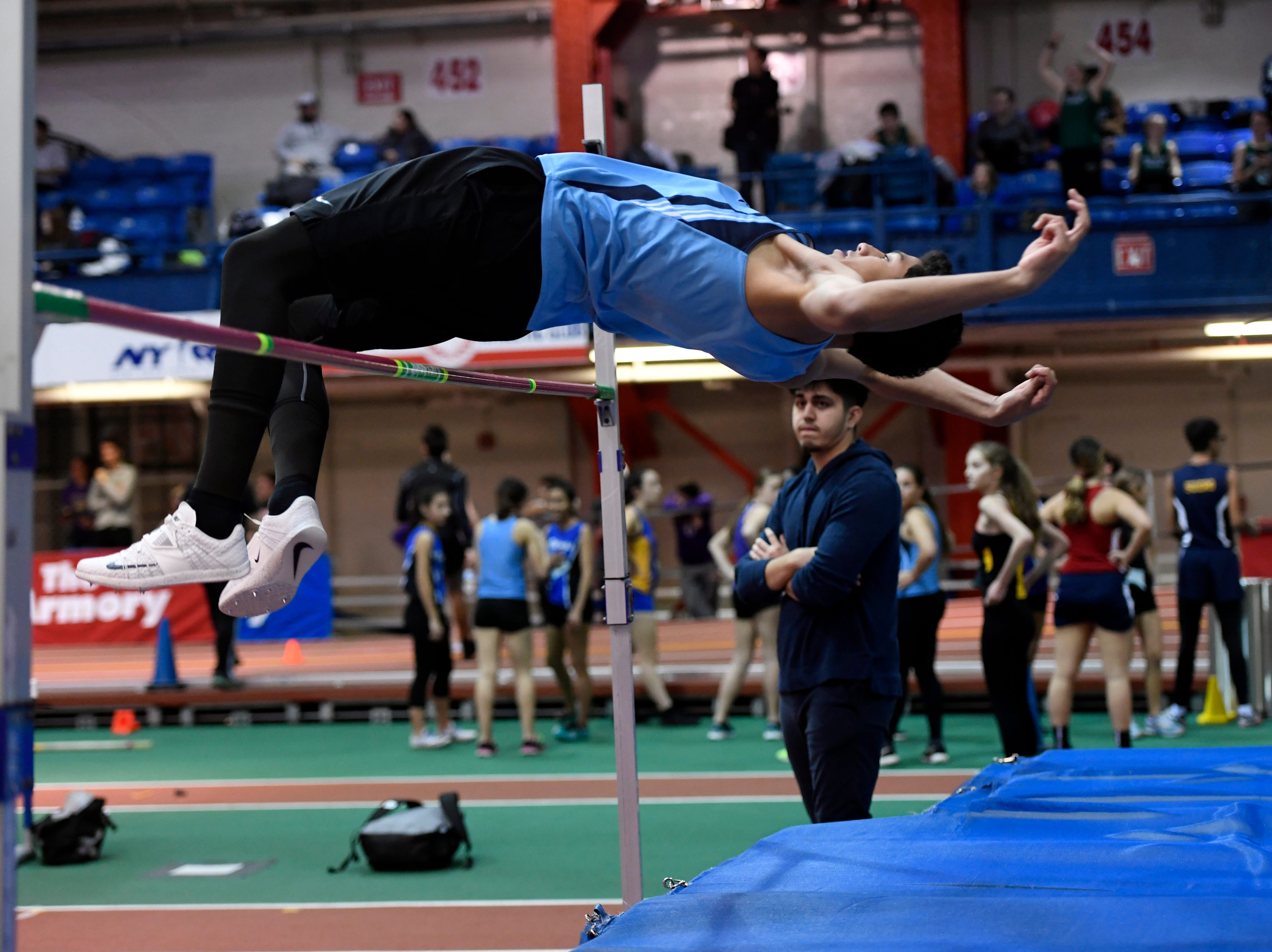 Frank Avalo of Waldwick placed second in the high jump during the NJIC track meet at the Armory Track on Monday, Jan. 7, 2019, in New York.