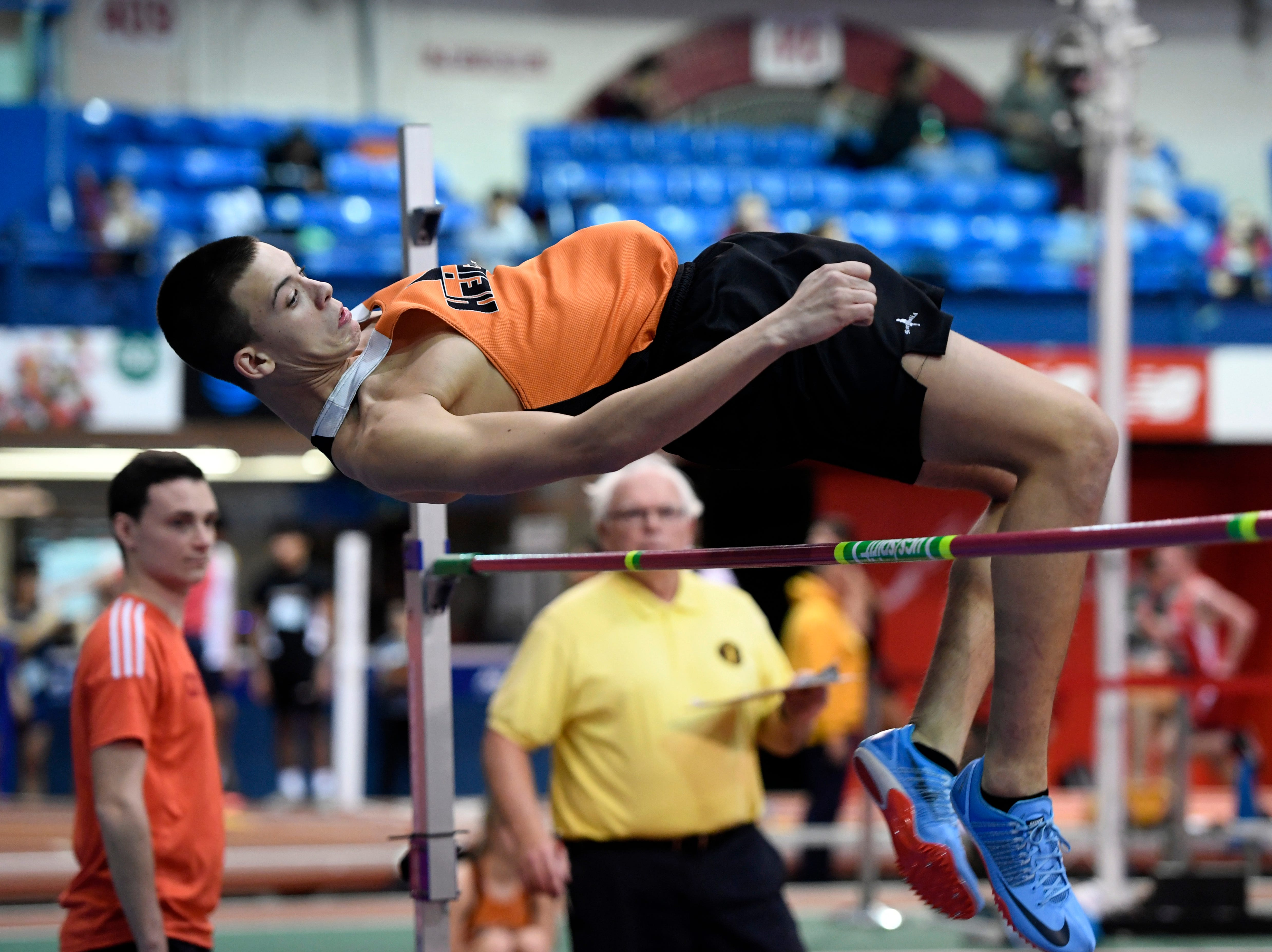 Vincent Sedlemier of Hasbrouck Heights competes in the high jump during the NJIC track meet at the Armory Track on Monday, Jan. 7, 2019, in New York.