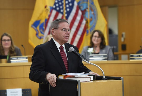 Senator Robert Menendez speaks during the annual Bergen County freeholder board's reorganization meeting, photographed at Bergen County Plaza in Hackensack on 01/07/19.