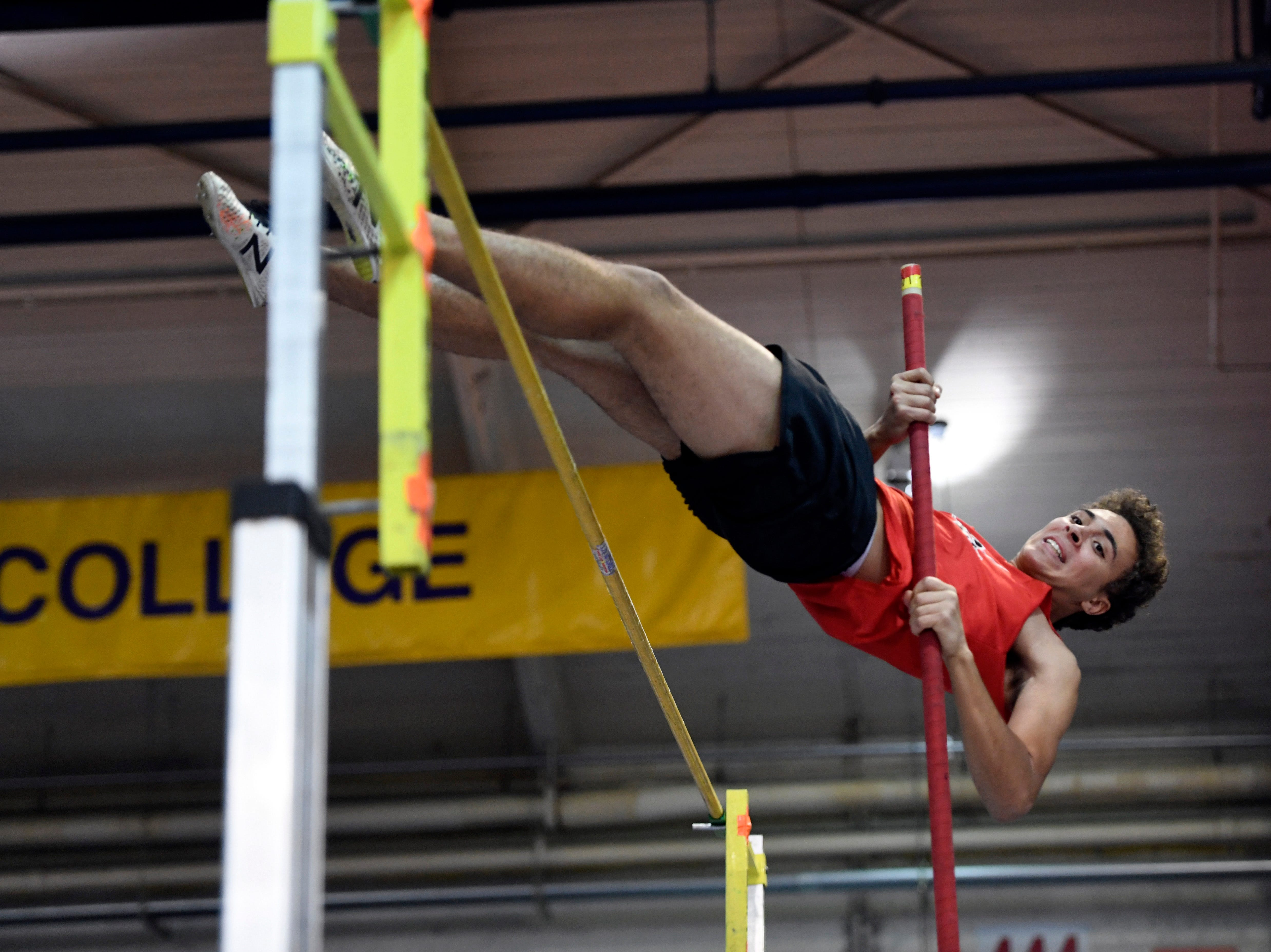 Cameron Storz of Emerson clears 11-feet-6-inches, coming in second in pole vault, during the NJIC track meet at the Armory Track on Monday, Jan. 7, 2019, in New York.