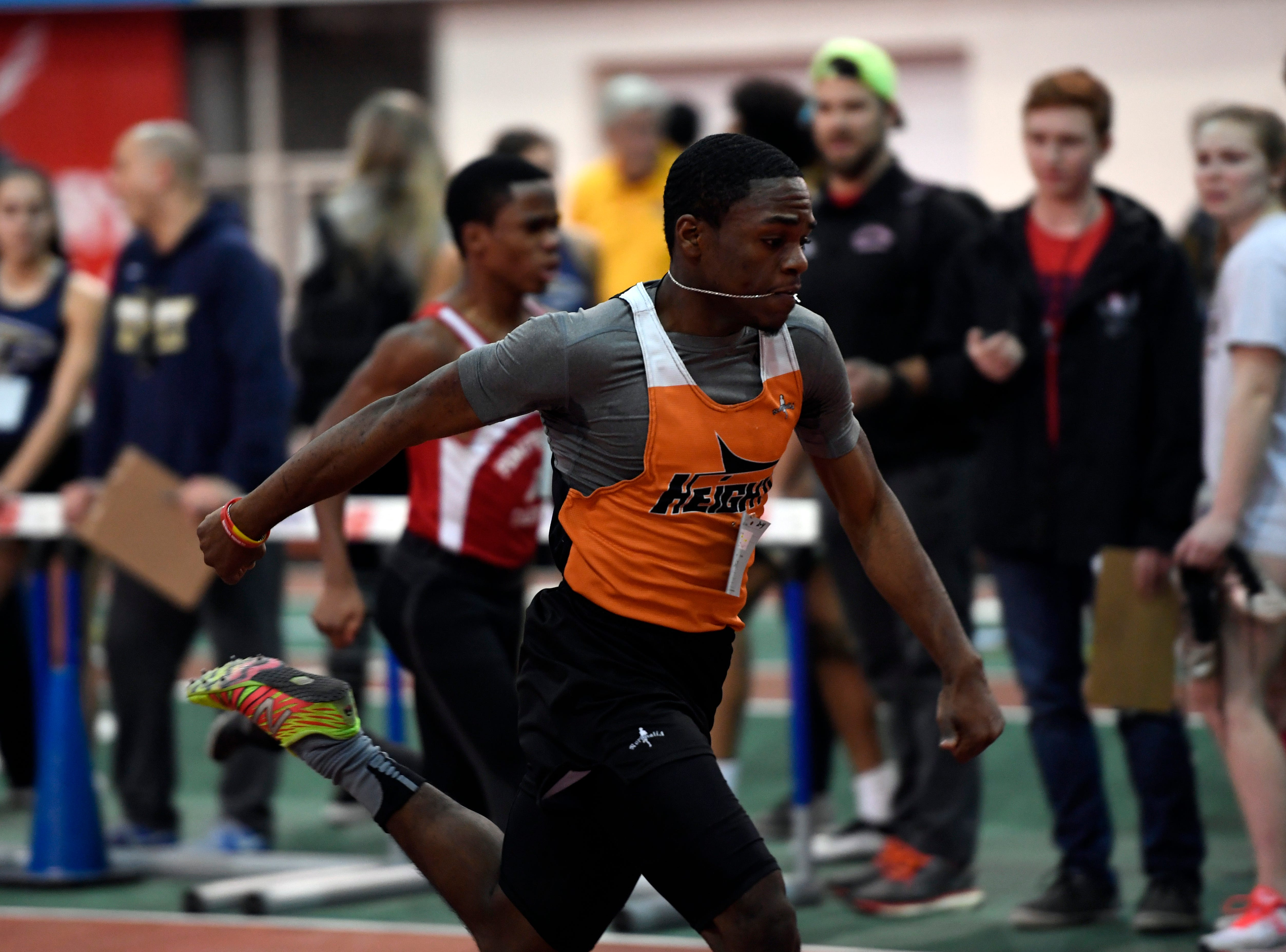Maliki Burrell of Hasbrouck Heights finishes second in the 55-meter dash during the NJIC track meet at the Armory Track on Monday, Jan. 7, 2019, in New York.