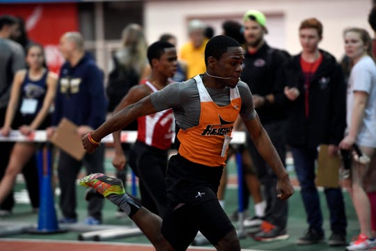 Maliki Burrell of Hasbrouck Heights swept the three sprint races on Tuesday at the NJIC Track and Field Championships at Emerson High School. Burrell won the 100, 200 and 400-meter races to lead the Aviators to a sixth straight conference title.
