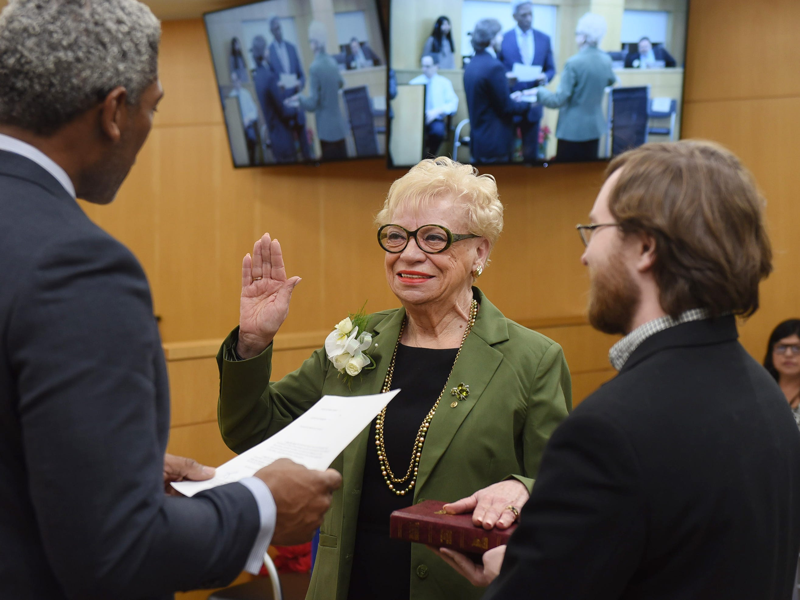 Joan Voss is sworn in as Chair Pro Tempore by Julien X. Neals Esq., Administered by Acting County Administrator during the annual Bergen County freeholder board's reorganization meeting at Bergen County Plaza in Hackensack on 01/07/19.