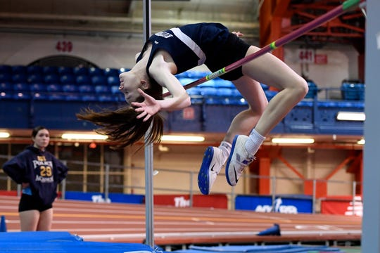 Rutherford's Jenna Rogers competes in the high jump during the NJIC track meet at the Armory Track on Monday, Jan. 7, 2019, in New York.