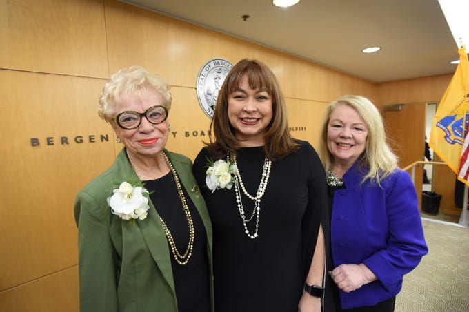Pictured from  left to right, are, Joan Voss, named as Pro-Tempore, Germaine Ortiz as Chairwoman and Mary Amoroso as Vice-Chair at the annual Bergen County freeholder board's reorganization meeting at Bergen County Plaza in Hackensack on Jan. 7.  First time in county history all three positions are held by women, who now make up most of the freeholder board.