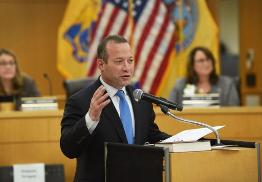 Congressman Josh Gottheimer speaks during the annual Bergen County freeholder board's reorganization meeting, photographed at Bergen County Plaza in Hackensack on 01/07/19.