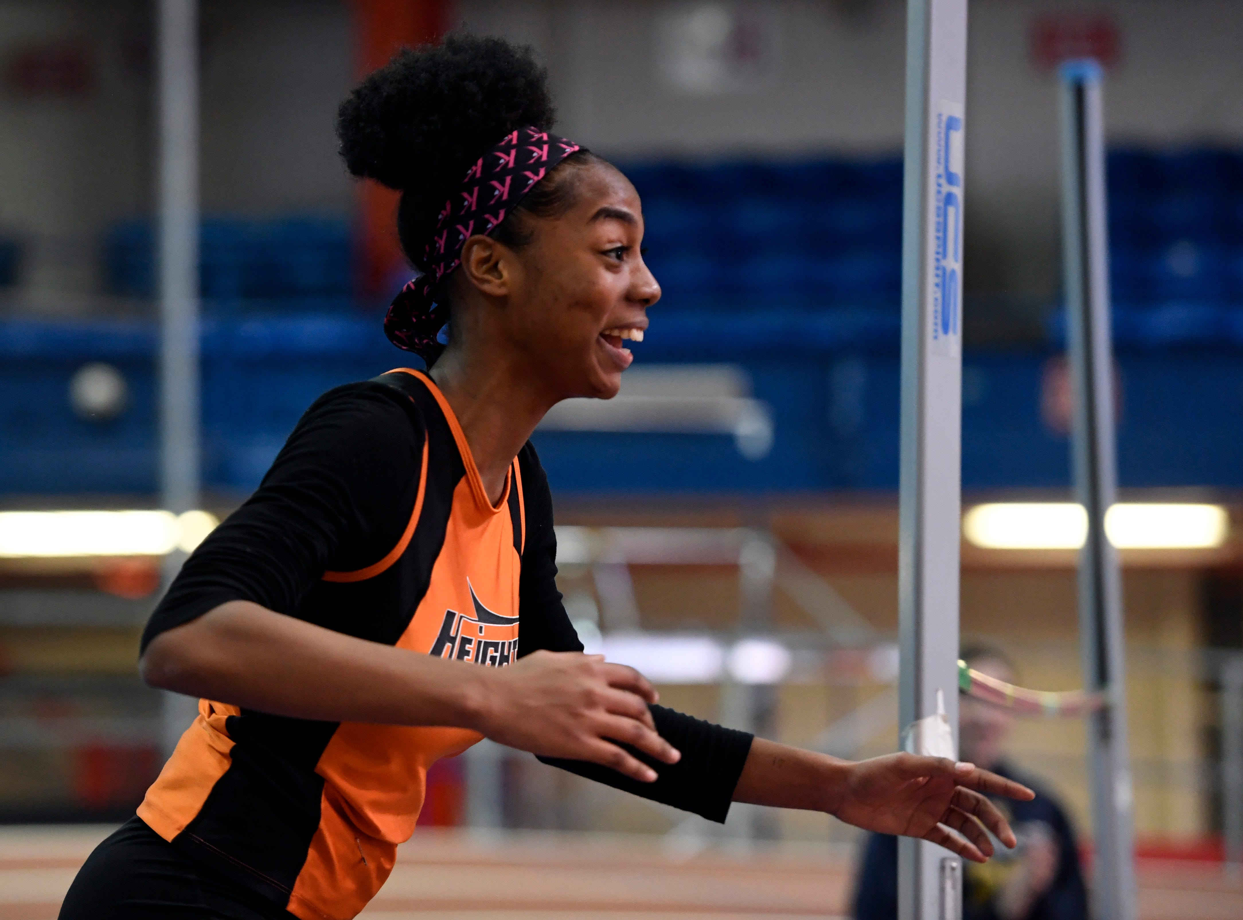 Talia Ferguson of Hasbrouck Heights reacts after clearing 5-feet-2-inches in the high jump for the first time during the NJIC track meet at the Armory Track on Monday, Jan. 7, 2019, in New York.