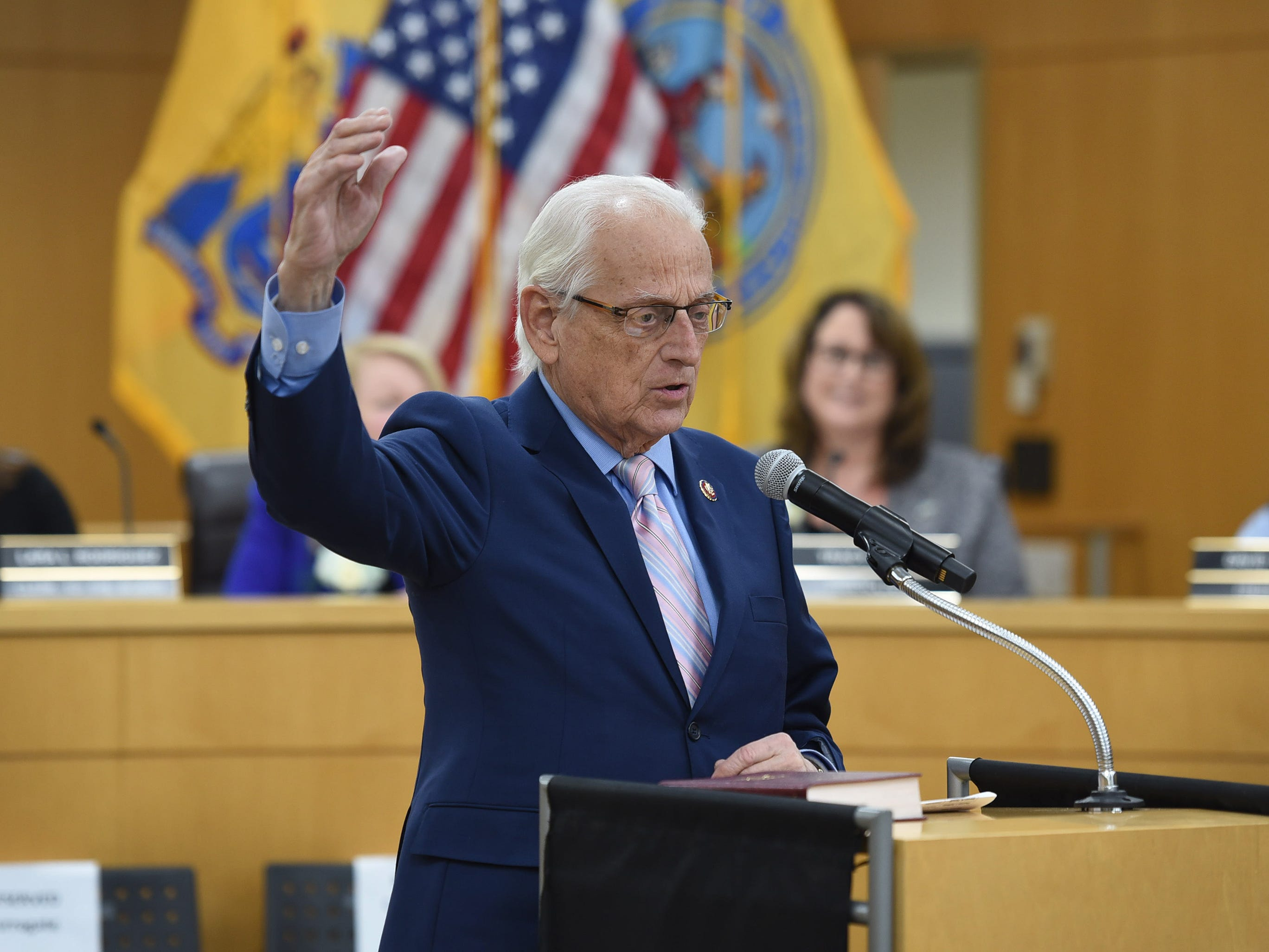 Congressman William Pascrell speaks during the annual Bergen County freeholder board's reorganization meeting, photographed at Bergen County Plaza in Hackensack on 01/07/19.