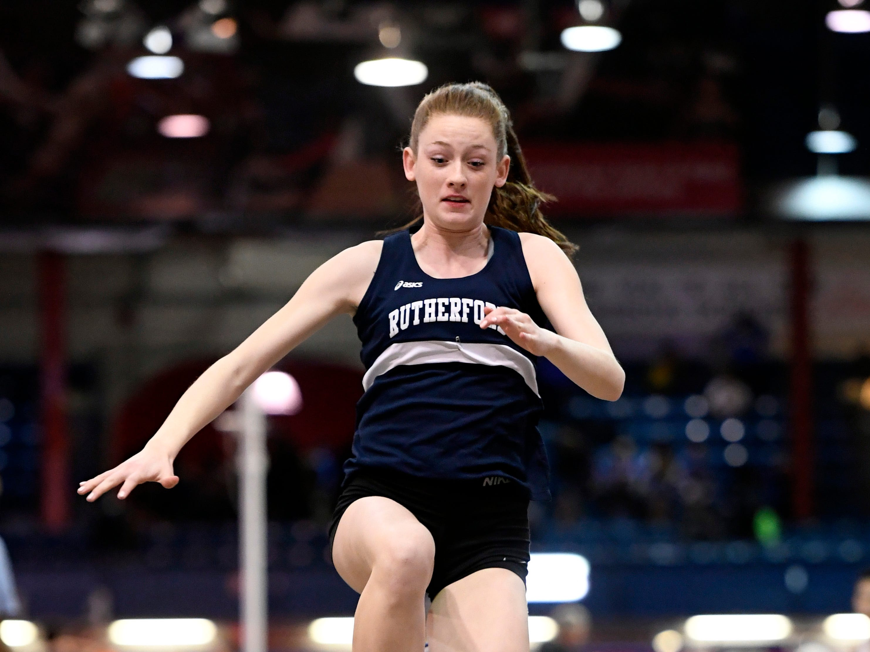 Rutherford's Jenna Rogers competes in the long jump during the NJIC track meet at the Armory Track on Monday, Jan. 7, 2019, in New York.