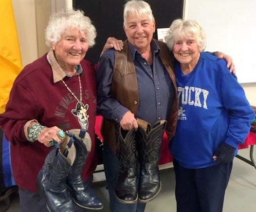 From left, Geraldine Kretek, Deanna McGuffin and Gertrude Kretek got reacquainted and had a lot to catch up on this past weekend at the Arts of the Old West art show in Deming. The trio first met 26 years ago at the Smithsonian Institute in Washington, D.C.