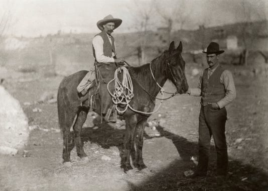 Gideon Lyda Seated Foreman And D C Mcmillen Standing Owner A T Cross Cattle Co Grant County Nm C 1900 Collection Silver City Museum