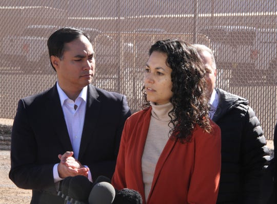 Rep. Xochitl Torres Small, NM-2, talks to the media after touring the U.S. Border Patrol station in Alamogordo, N.M. Jan. 7.