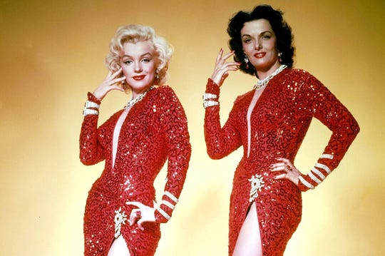 "Marilyn Monroe and Jane Russell starred in the 1953 comic classic, ""Gentlemen Prefer Blondes'"