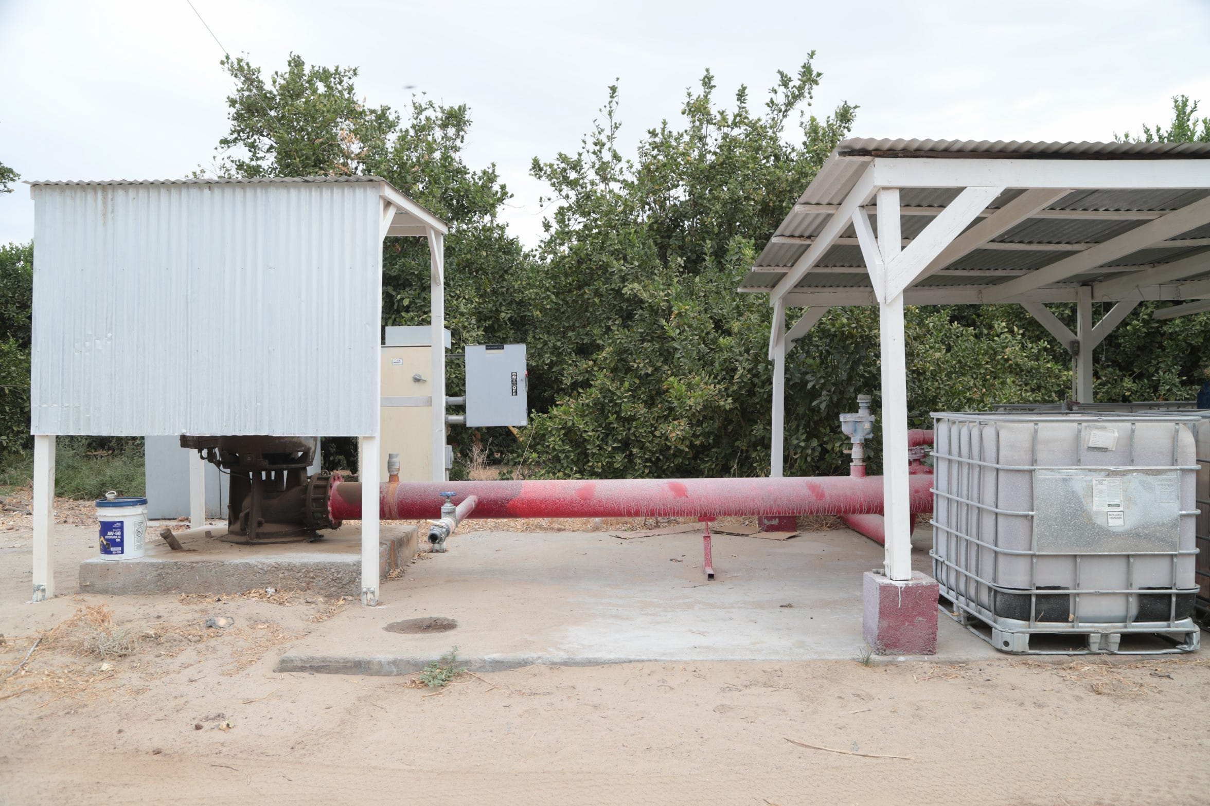 A well supplies water for the citrus groves at Seley Ranches. As the community of Borrego Springs implements a new groundwater management plan, the farm will be required to reduce pumping.