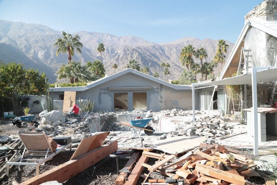 Eric and Lindsey Bennett of Desert Flippers work on flipping a house for a private client in Palm Springs, Calif., January 7, 2018.