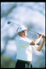 Bruce Devlin watches the ball fly during the GTE West Classic in Ojai.