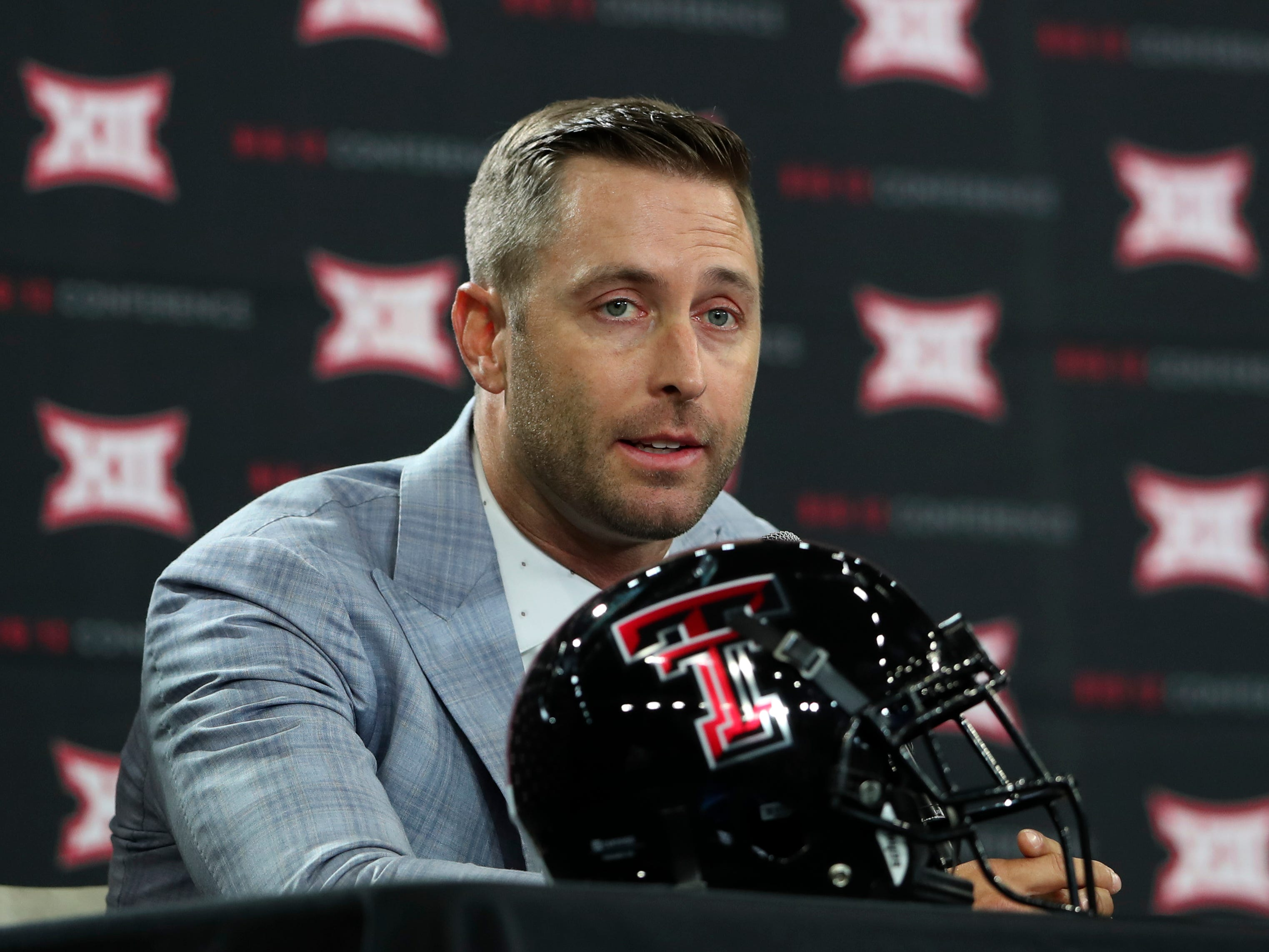 Texas Tech head coach Kliff Kingsbury speaks to the media during the 2017 Big 12 media days at the Frisco Star Ford Center outside Dallas.