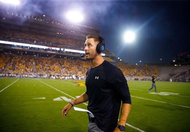 Texas Tech head coach Kliff Kingsbury reacts during the game at Arizona State on Sep. 10, 2016.