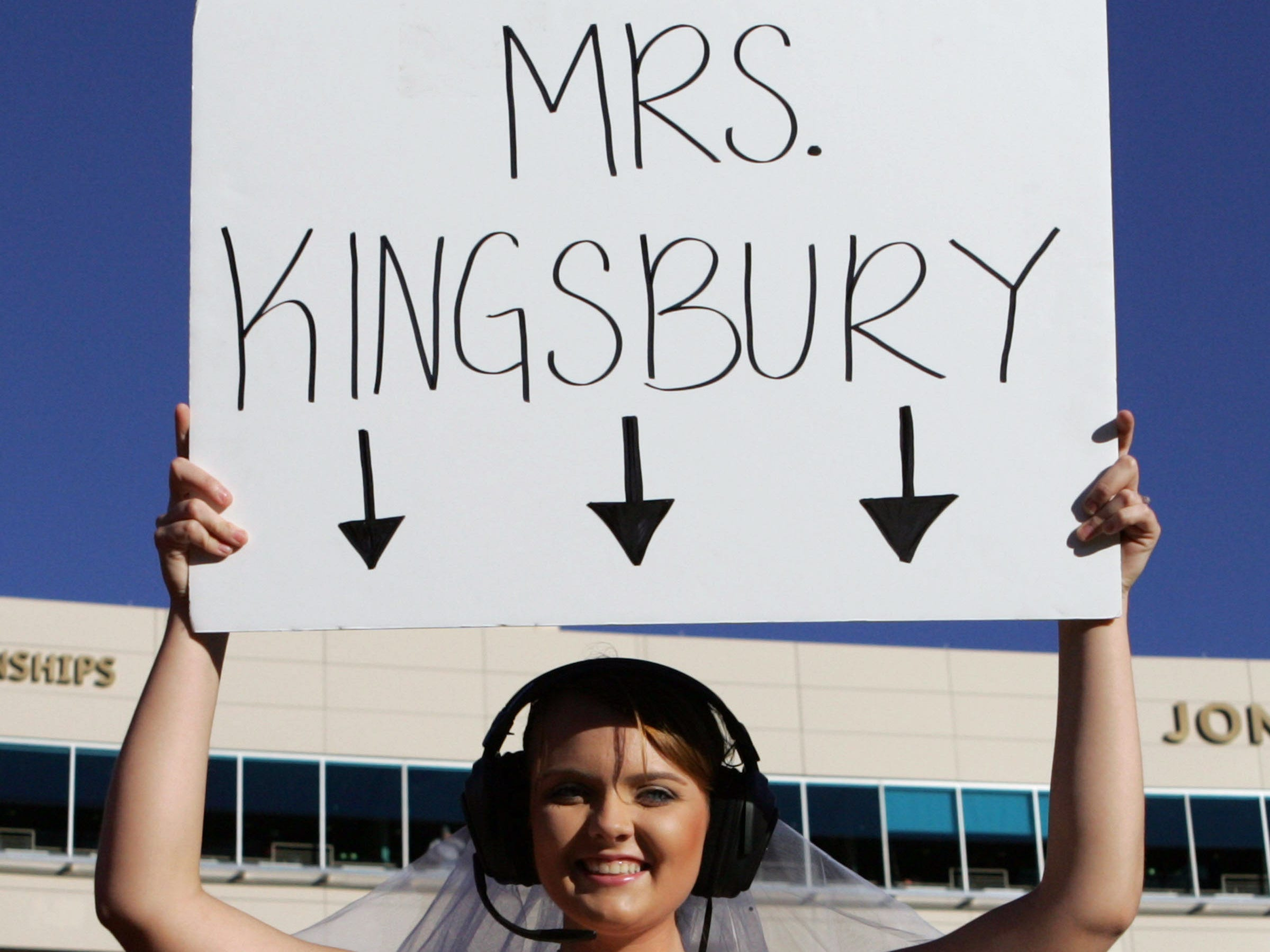 Texas Tech student Ellen Elizabeth Perron shows her support for head coach Kliff Kingsbury in the game against Oklahoma State on Nov. 2, 2013.