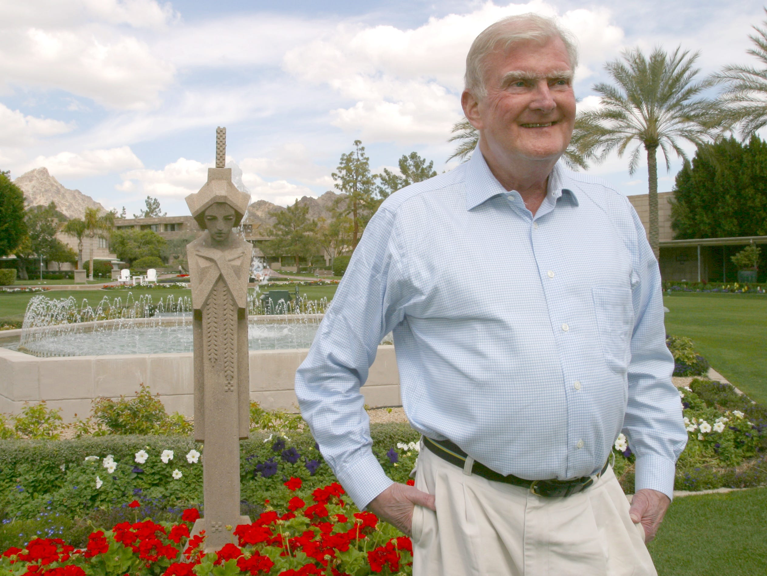 William Polk Carey is seen at the Arizona Biltmore in 2003, the year he donated $50 million to the business college at Arizona State University. His foundation in January 2019 donated $25 million more to the school,
