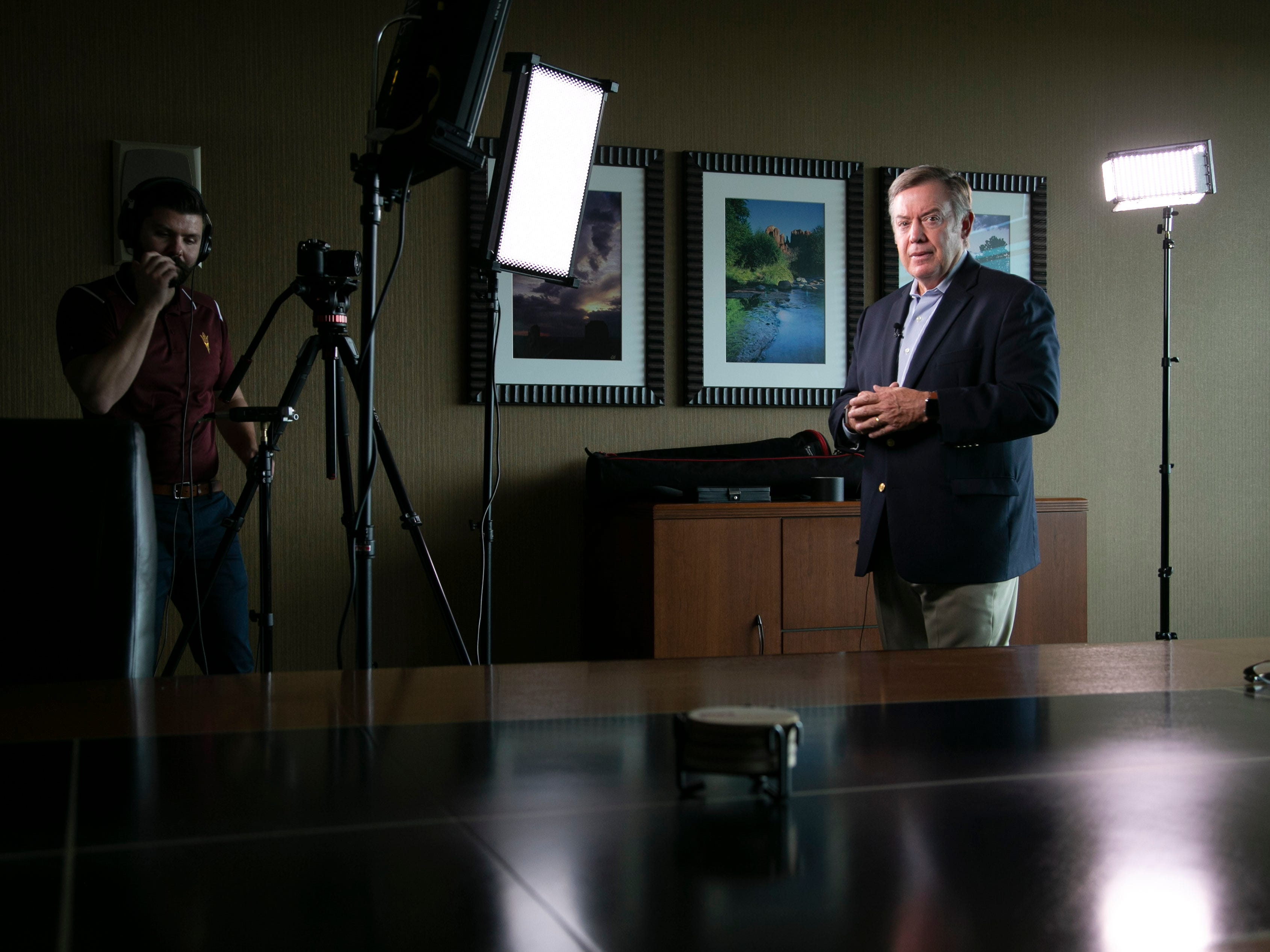 Michael Crow records footage for an ASU video segment on the Tempe campus on Oct. 16, 2018.