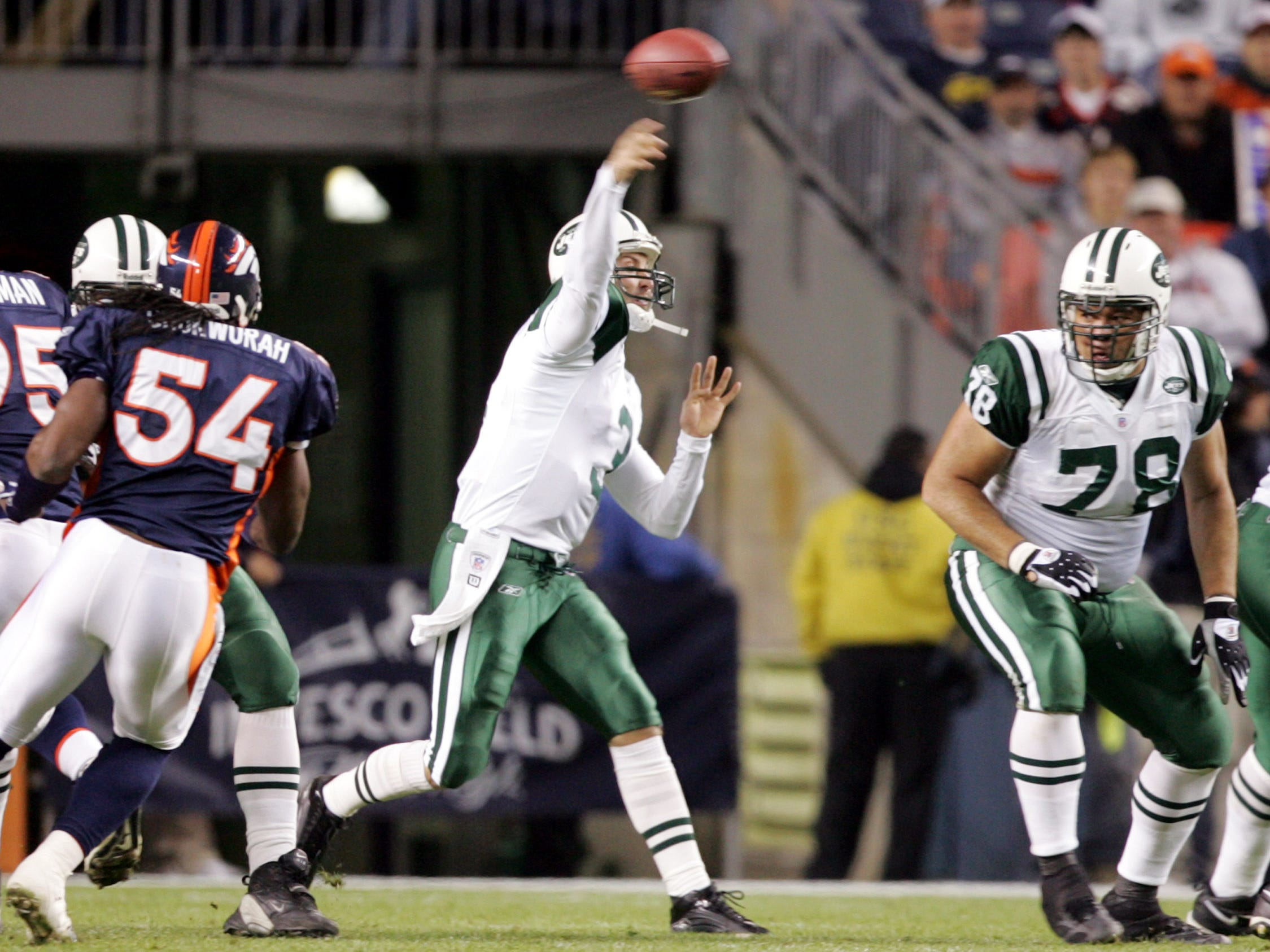New York Jets third-string quarterback Kliff Kingsbury fires a pass from the pocket in the final seconds of the Jets 27-0 loss to the Denver Broncos in Denver on Sunday, Nov. 20, 2005.