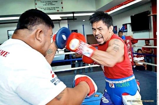 Manny Pacquiao en uno de sus entrenamientos.