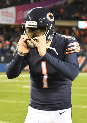 Chicago Bears kicker Cody Parkey (1) reacts after missing a field goal in the fourth quarter against the Philadelphia Eagles in a NFC Wild Card playoff football game at Soldier Field Sunday