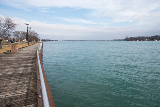 The St. Clair River, as seen from Algonac Waterfront Park Tuesday, Jan. 9, 2019. With a mild winter and lack of ice on the St. Clair River, bait shops in the area are selling more supplies for walleye fishing.