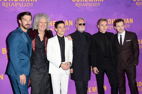 Left to right, Gwilym Lee, Brian May, Rami Malek, Roger Taylor, Ben Hardy and Dutchess County native Joe Mazzello attend the World Premiere of 'Bohemian Rhapsody' at SSE Arena Wembley on October 23, 2018 in London, England. Mazzello portrays Queen bass player John Deacon in the film.