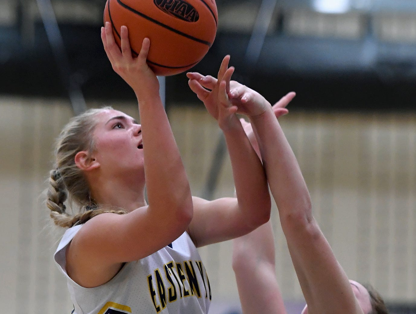 Addi Malone of Eastern York is fouled by Maddy McMaster of South Western on her way to the basket, Monday, January 7, 2019. John A. Pavoncello photo
