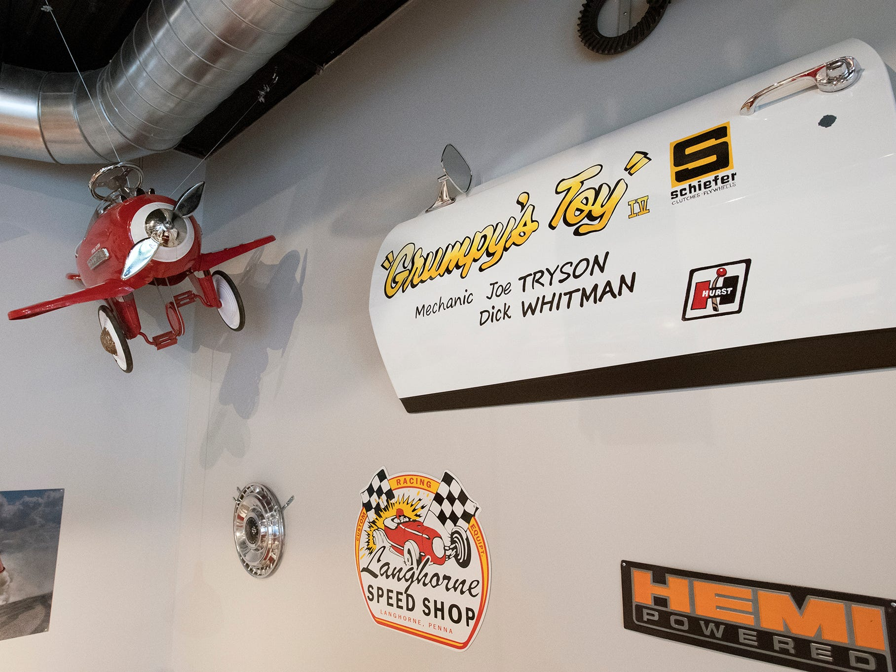 Some of the wall decorations at Johnny's Raceway Eatery were sourced from Jerry Shaffer's racing cars Tuesday January 8, 2019.