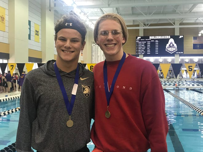 Richmond's Dustin Wilson (left) won the NCC title in the 50 freestyle, and Ben Quinn won the 200 IM at the NCC championships.