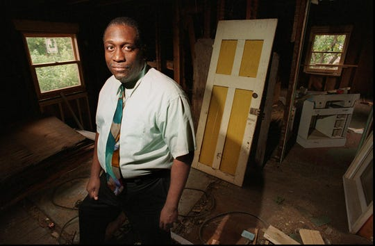 The Rev. Samuel McCree Jr. of Zion Hill Missionary Baptist Church is inside the shelter his church is building for women of domestic violence, on Sept. 28, 1994.