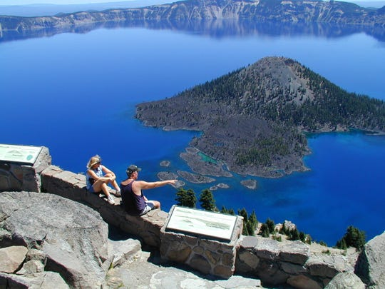 View of Crater Lake from The Watchman viewpoint.
