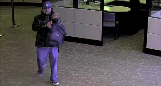 The male suspect who robbed the Wells Fargo was described as a 5-foot, 6-inch white or Hispanic male weighing 150 pounds and wearing a blue LA Dodgers baseball cap and wearing dark clothing.