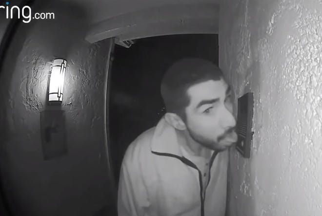A man was seen on video licking an intercom buzzer at a Salinas home.