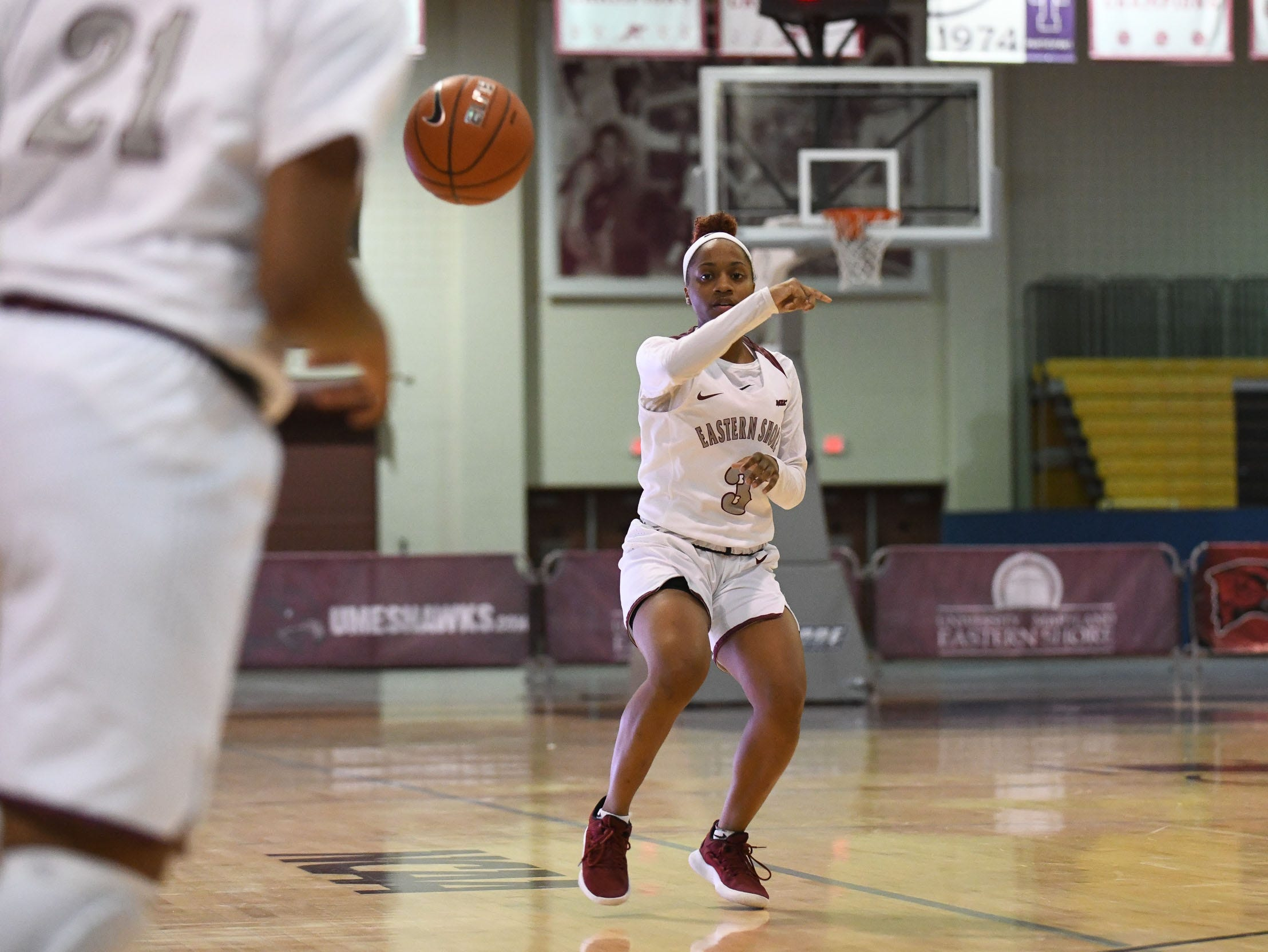 Maryland Eastern Shore's Brooklyn Bailey with the pass during the game against Howard University on Monday, Jan 7, 2018.