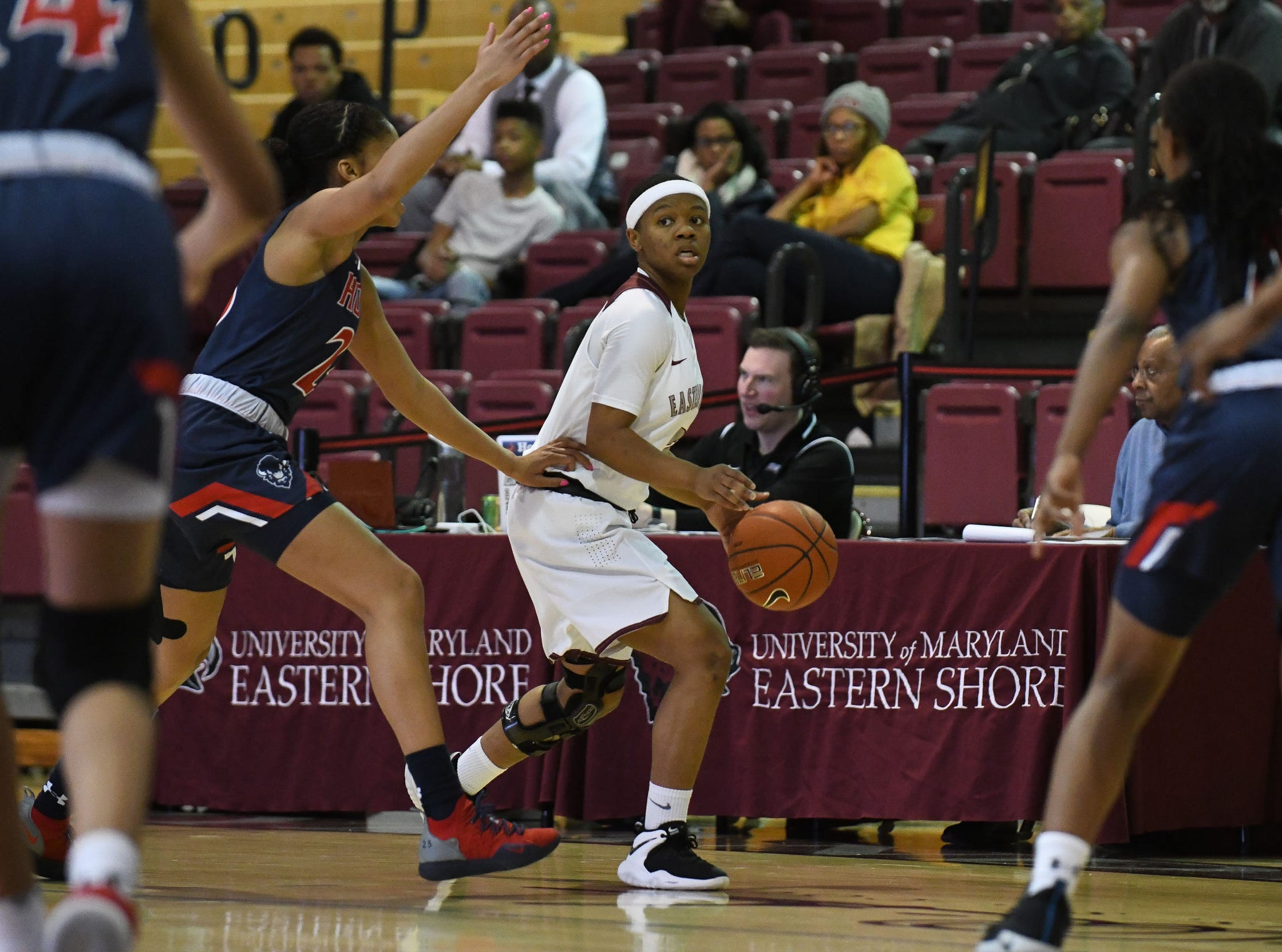Maryland Eastern Shore's Ciani Byron with the ball during the game against Howard University on Monday, Jan 7, 2018.