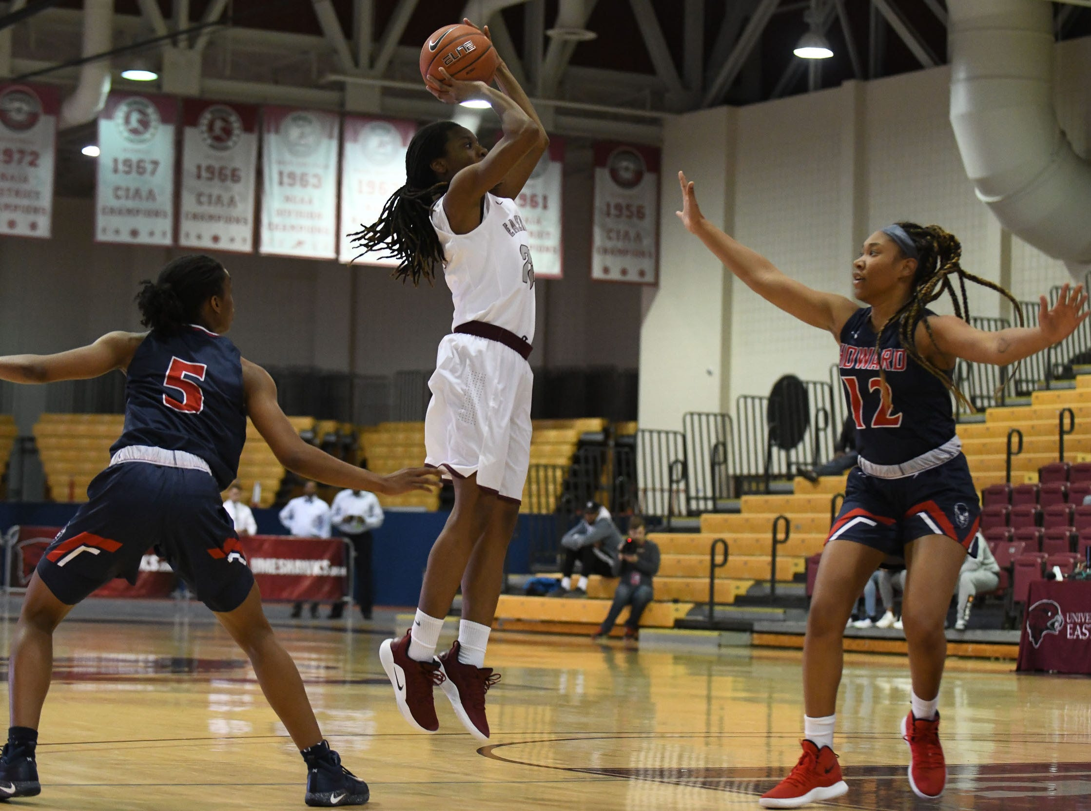 Maryland Eastern Shore's Dominique Walker with the jumper against Howard University on Monday, Jan 7, 2018.